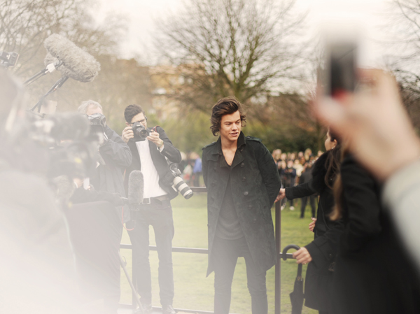 Harry Styles wearing Burberry at the Burberry Prorsum Womenswear Autumn_Winter 2014 Show
