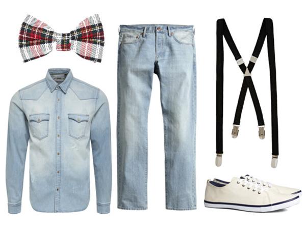 H&M джинсы и кеды, River Island бабочка и подтяжки, Jack&Jones рубашка