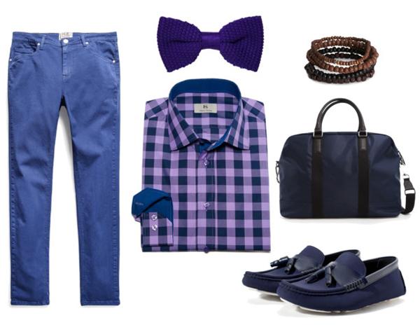 HE by Mango джинсы и сумка, Zara мокасины, Schoffa бабочка, Albert Ström рубашка, H&M браслет