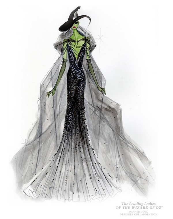 Donna Karan's sketch for Wicked Witch doll