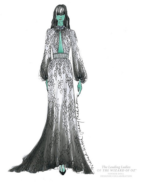 Jenny Packham\'s sketch for Wicked Witch doll