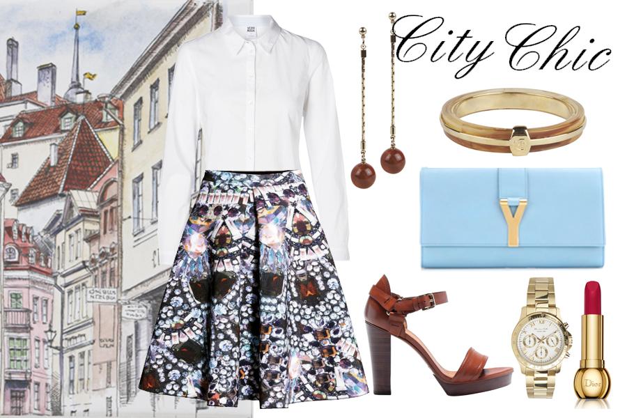 Белая рубашка, Vero Moda; юбка, H&M; клатч, Saint Laurent; босоножки, серьги, браслет, часы – все Massimo Dutti