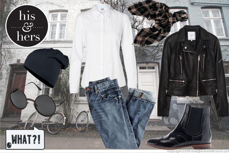 Белая рубашка, Vero Moda; джинсы, J.Crew; косуха, чехол длят телефона – все Zara;  ботинки, Massimo Dutti; шапка, Jersey Beanie; шарф, Saint Laurent; очки, Gabriella Rocha