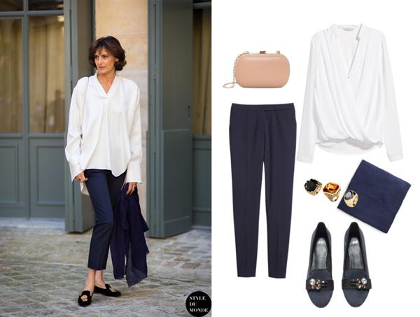 Блуза, брюки, слиперы и кольца, все H&M; платок и клатч, Mango