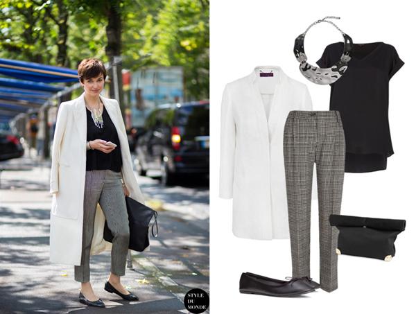 Топ, брюки, River Island; пальто, Mango;  балетки, H&M; украшение, клатч, Lindex