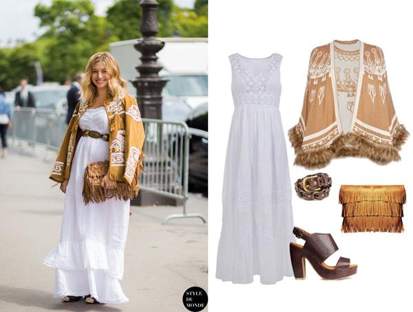 Платье, Mosaic; накидка, River Island; босоножки,  H&M; сумка, ASOS; ремень, Mango