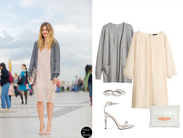 Платье, кардиган, H&M; босоножки и кольца Mango; клатч, ASOS