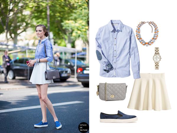 Рубашка, юбка, H&M; слипоны, Mango;  украшение, Zara; часы, River Island; сумка, ASOS