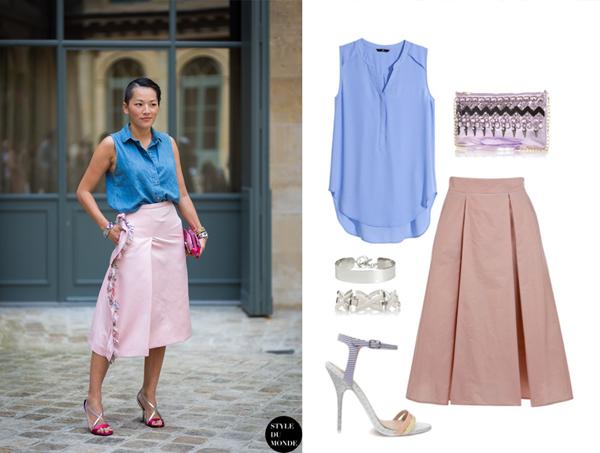 Блуза и браслет, H&M; босоножки, АSOS; клатч и браслет, River Island; юбка, Monton