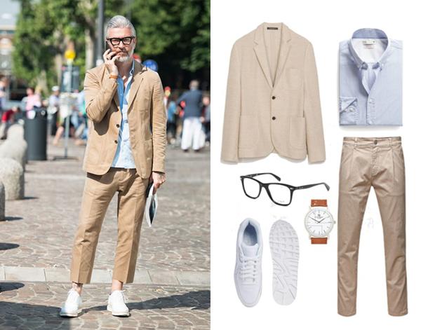 Блейзер, Zara; рубашка, He by Mango; брюки, Jack&Jones; кроссовки, Nike; часы, River Island; очки, RayBan
