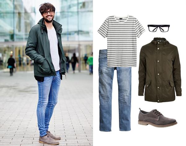 Майка, джинсы - все H&M; парка, очки - все River Island; туфли, Bata