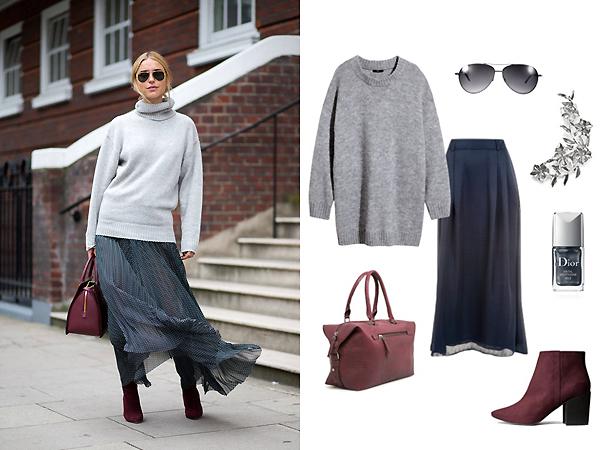 Свитер, ботинки, все - H&M; юбка, Ivo Nikkolo; сумка, каффы, все - Mango; очки, RayBan; лак для ногтей, Dior