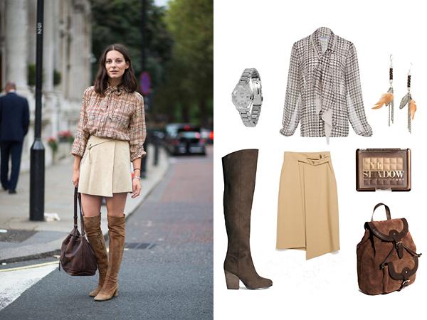 Рубашка, Bastion; юбка, Zara; ботфорты, тени для глаз, все - H&M; сумка, Asos; часы, Citizen
