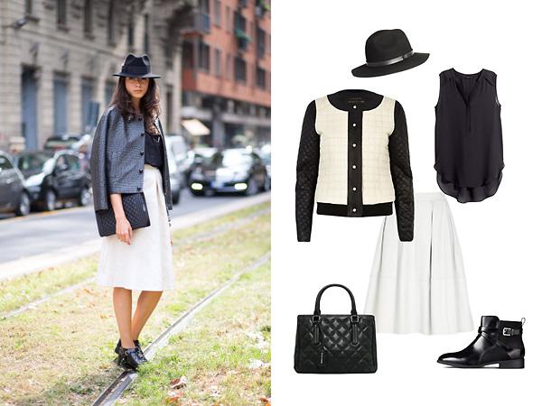 Куртка, юбка River Island; топ, ботинки, шляпа, все - H&M; сумка, Mango