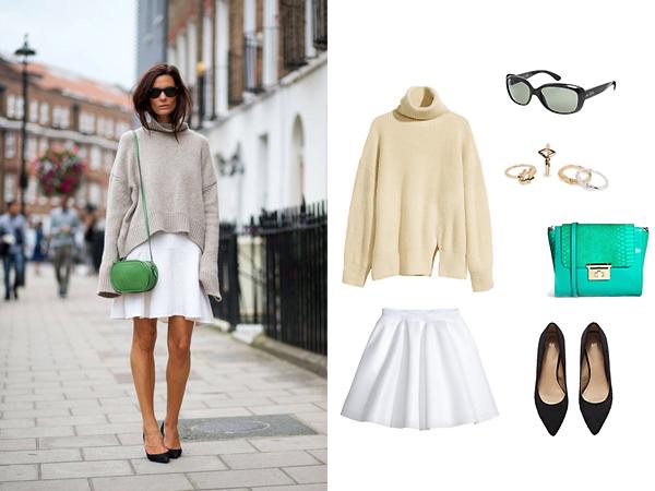 Свитер, юбка, туфли все - H&M; сумка, Asos; кольца, Mango