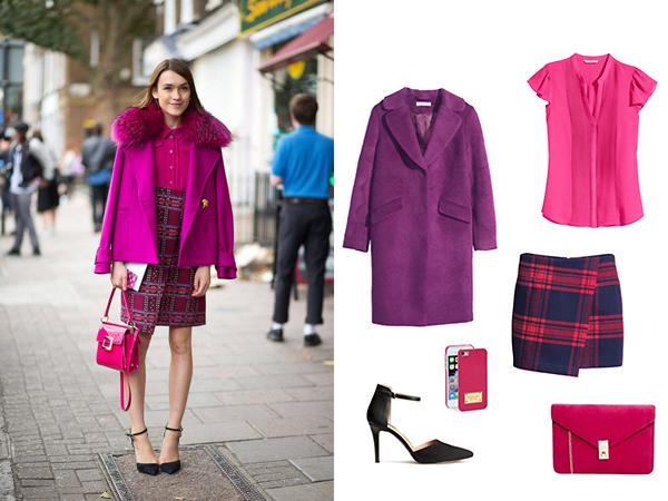 Пальто, топ, юбка, туфли, все - H&M; клатч, чехол для телефона, все - Asos