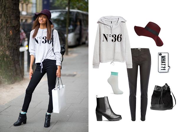 Брюки, шляпа, все - River Island; свитшот, ботинки, сумка, все - H&M; носки, Mango; чехол для телефона, Zara
