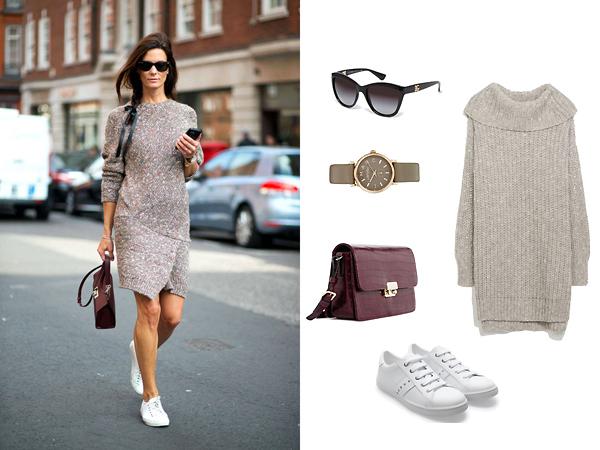 Вязаное платье, кроссовки, все - Zara; сумка, Mango; очки, Dolce&Gabbana; часы, Asos