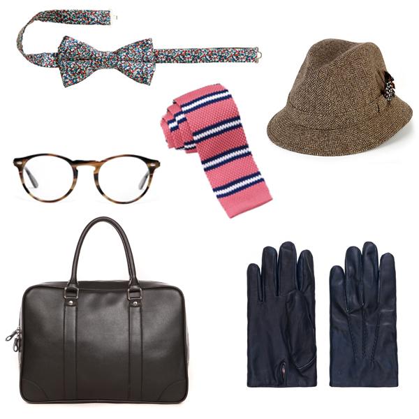 Бабочка, H&M; очки, Ray Ban; сумка, Monton; галстук, Sangar; шляпа, Marks&Spencer; перчатки, Gant