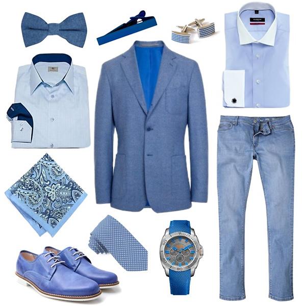 Sangar рубашка с контрастным воротником, шелковый платок, галстук; Schoffa запонки и зажим для галстука; Albert Ström рубашка; Baltman блейзер; ABC King туфли; River Island джинсы; Hubo Boss часы