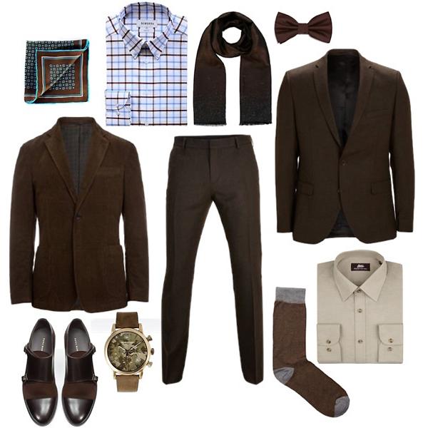 Sangar шелковый платок; Schoffa клетчатая рубашка; Emporio Armani часы, шарф; Zara туфли, бабочка; Selected блейзер, туфли, носки; Marks&Spencer рубашка; Baltman вельветовый блейзер