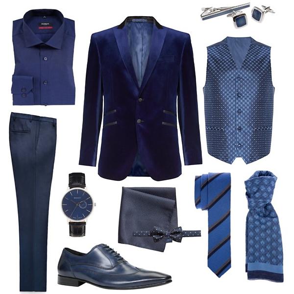Sangar рубашка; Aldo туфли; Baltman шарф; Mango брюки; Marks&Spencer блейзер, жилет; Monton запонки, зажим и галстук; H&M платок и бабочка; Gant часы
