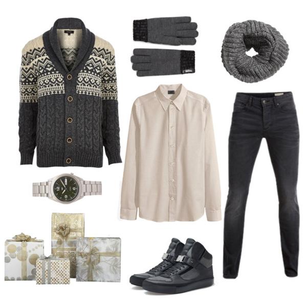 Кардиган, River Island; рубашка и шарф, все H&M; джинсы, Selected; кеды, Zara; часы, Seiko; перчатки, Marks&Spencer