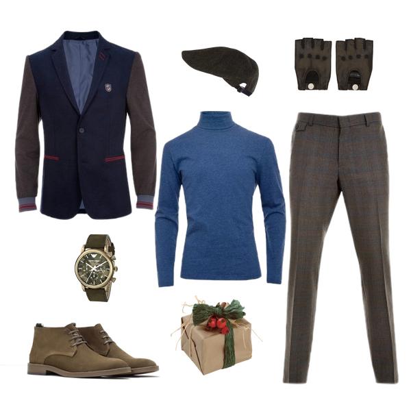 Блейзер и водолазка, Monton; брюки, Baltman; дезерты, Zara; перчатки, Marc Jacobs; шапка, River Island; часы, Emporio Armani
