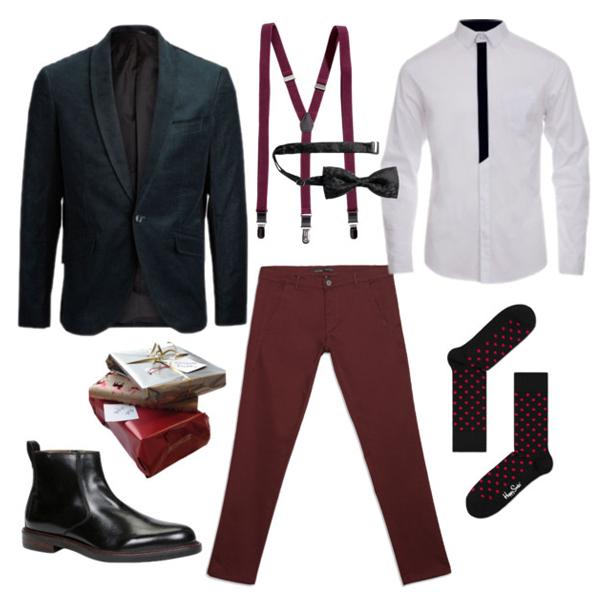 Блейзер, Selected; брюки, Zara; рубашка, Monton; носки, Happy Socks; подтяжки и бабочка, H&M; челси, Aldo