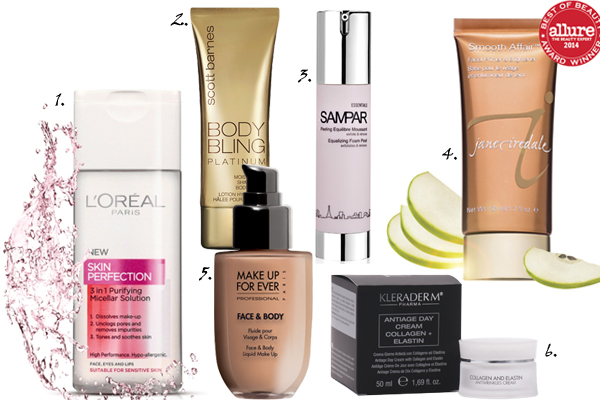 1.Micellar Water, L'Oreal; 2. Body Bling Platinum, Scott Barnes; 3. Equalizing Foam Peel, Sampar; 4. Smooth Affair, Jane Iredale; 5. Face & Body, MUFE; 6. Collagen and Elastin, Kleraderm