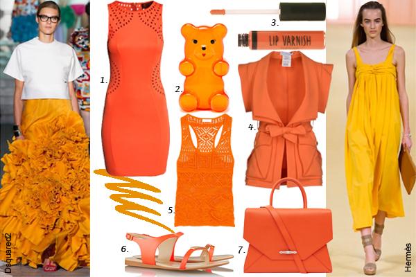 1. платье H&M; 2. клатч Charlotte Olympia; 3. блеск для губ Topshop 4. Жакет Versace; 5. топ Emilio Pucci; 6. сандалии Stella McCartney; 7. cумка Givenchy