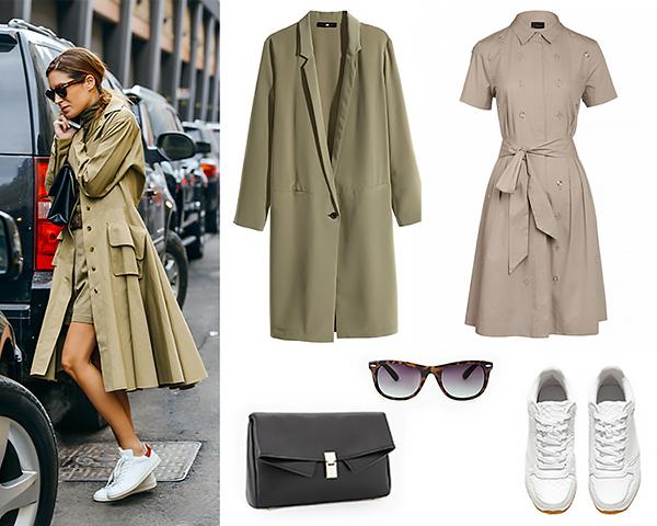 Mango сумка, очки; Ivo Nikkolo платье; H&M сникерсы, плащ