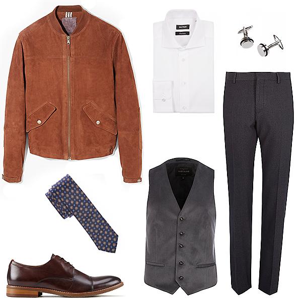 Monton рубашка, запонки и галстук; River Island брюки и жилет; Aldo туфли