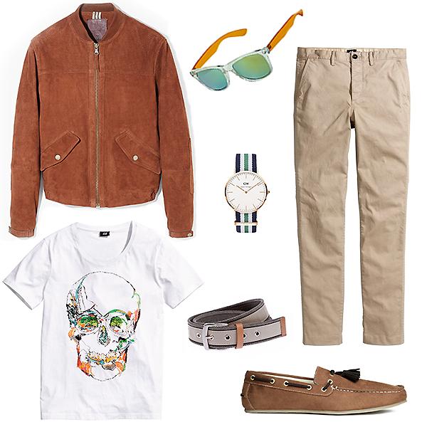 H&M чиносы, майка и мокасины; Marks&Spencer очки; Daniel Wellington часы; Mosaic ремень
