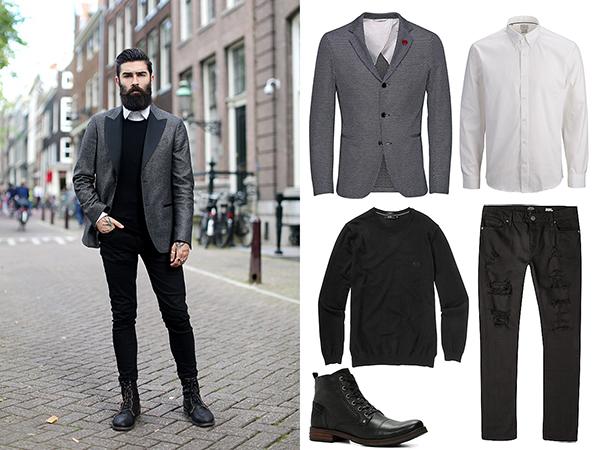 Selected рубашка, Hugo Boss свитер, River Island джинсы, JackJones блейзер, Aldo ботикни