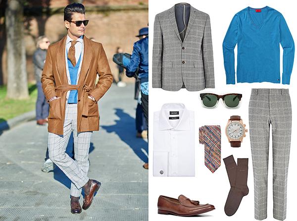 Hugo Boss свитер и носки, River Island костюм, Aldo часы и лоферы, Baltman галстук и рубашка, Mango очки