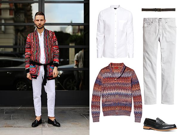 Missoni кардиган, H&M рубашка и чинос, Aldo ремень и лоферы