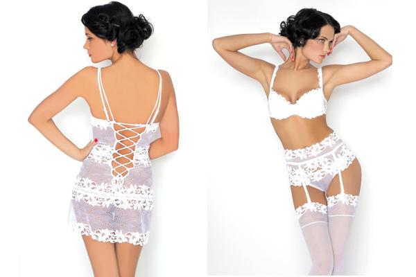 Daniella - линия белья из итальянского кружева с крупными цветочными мотивами, выпускается в трех цветах, белом, черном и бежевом.