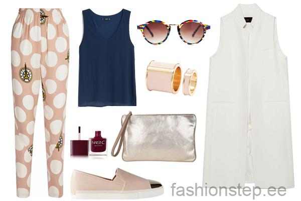 Выбор FashionSTEP: брюки, Kenzo; майка, Mango; слипоны, Stradivarius; клатч, Massimo Dutti; кольцо, H&M; солнцезащитные очки, Zara