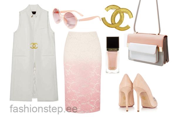Выбор FashionSTEP: юбка, Burbrry Prorsum; туфли, Charlotte Olympia; брошь, Vintage Chanel; сумка, Zara; солнцезащитные очки, Stradivarius