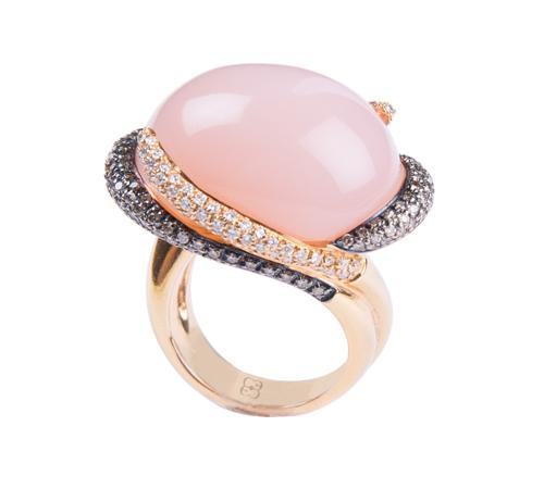 Elena C, золотое кольцо с розовым кварцем и бриллиантами