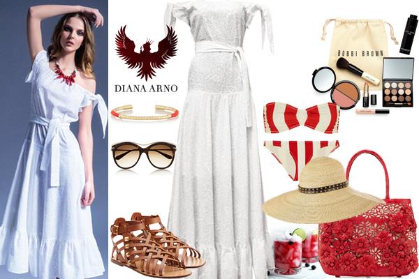 Выбор FashionSTEP: платье, Diana Arno; сандалии,Valentino; купальник, Solid and Striped; шляпа, Philip Treacy; сумка, Nancy Gonzalez; солнцезащитные очки, Alexander McQueen; браслет, Aurélie Bidermann