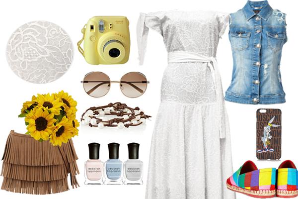 Выбор FashionSTEP: платье, Diana Arno ; жилет из денима, Philipp Plein; эспадрильи, Valentino; сумка,Aldo ; браслет, Chan Luu; очки, Chloé
