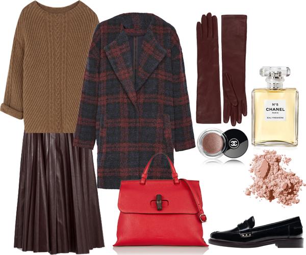Выбор FashionSTEP: свитер, лоферы, все – MassimoDutti; юбка, Zara; пальто, Pull & Bear; сумка, Gucci; перчатки, Lanvin