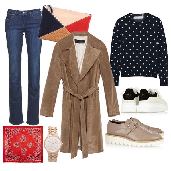 Выбор FashionSTEP: пальто, джинсы, Wrangler; свитер, Comme des Garçons; броги на платформе, Stella McCartney; кроссовки, Alexander McQueen; клатч, Clare V; шейный платок, ChanLuu; часы, DKNY