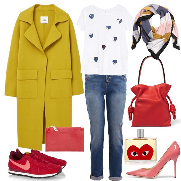 Пальто, Mango; футболка, кошелек, все - Stradivarius; джинсы, Promod; кроссовки, Nike; лодочки, Jimmy Choo; сумка, Loewe; платок, H&M, парфюм