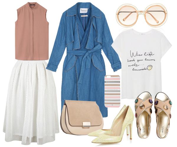 Топ, футболка, все Mango; юбка, Topshop; плащ, сандалии, все Max&Co; сумка, Zara;  чехол для телефона, Kate Spade New York очки, лодочки, Dune London
