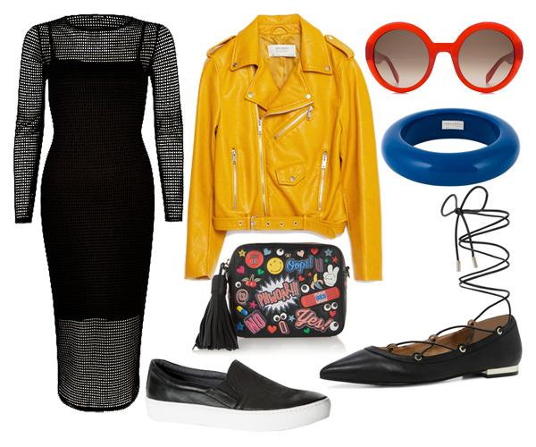 Платье, River Island; косуха, Zara; слипоны, Vagabond; балетки, Aldo; солнцезащитные очки, Alexander McQueen; браслет, Dsquared2; сумка, Anya Hindmarch