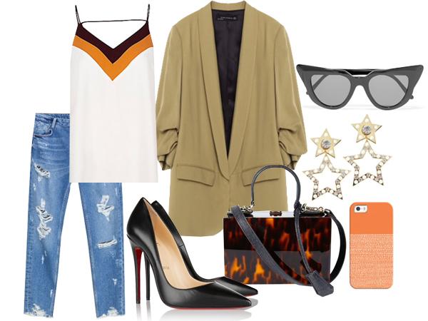 Джинсы, жакет, все Zara; топ, River Island; туфли, Christian Louboutin сумка, серьги, все Uterqüe;  солнцезащитные очки, Illesteva; чехол для телефона, Casetify