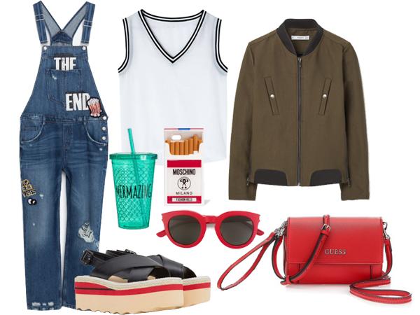 Комбинезон, Zara;  топ, Uterqüe; куртка, сандалии на платформе, все Mango; сумка, Guess; чехол для телефона, Moschino; солнцезащитные очки, farfetch.com; стакан, H&M